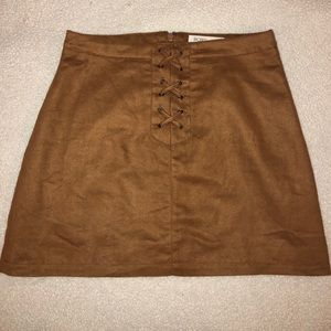 BCBG Brown Suede Skirt